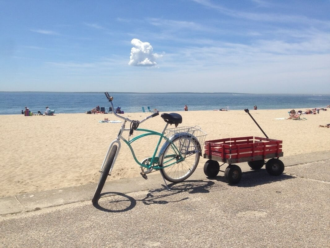 bike and wagon on beach