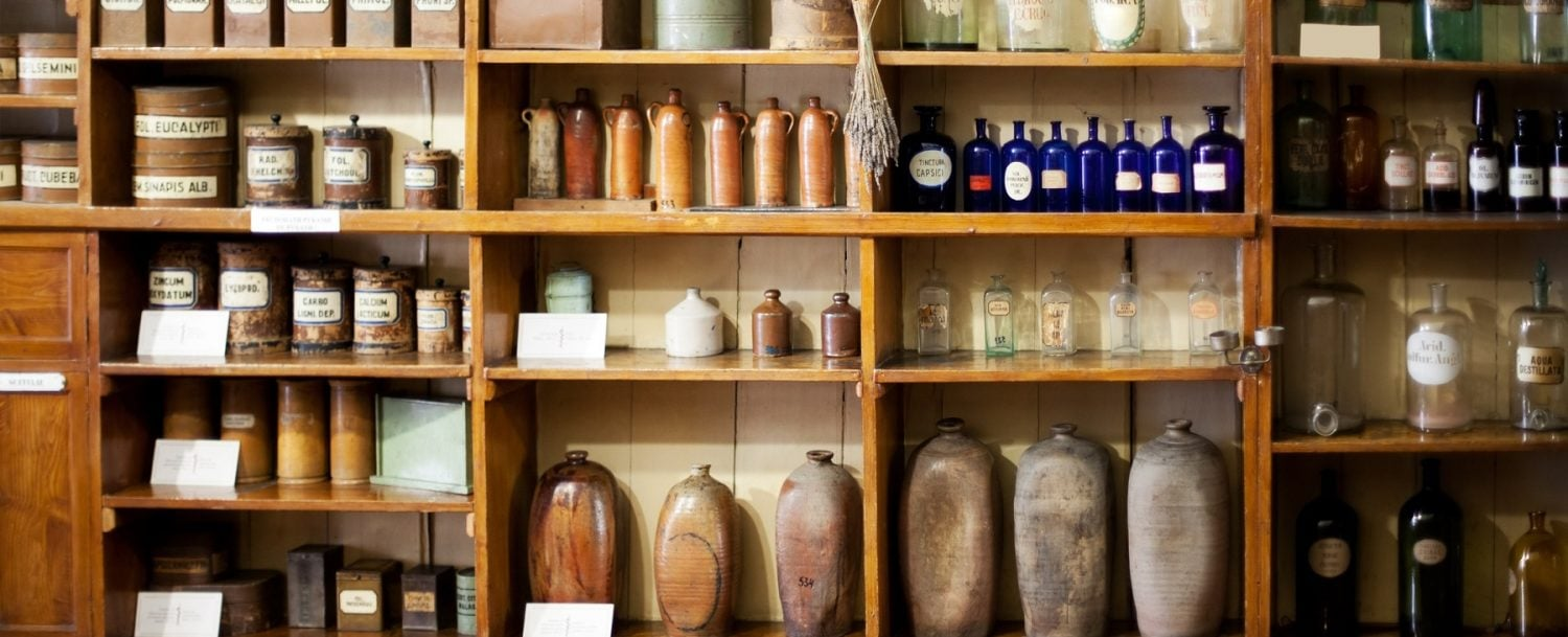 antique store, bottles, pottery