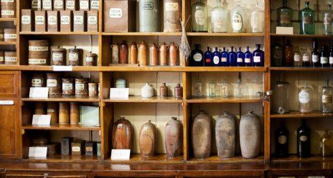 antique store, bottles, pottery