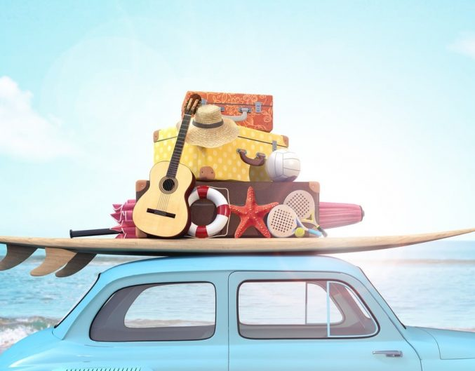 road trip to beach, car with guitar, starfish, hat, surf board